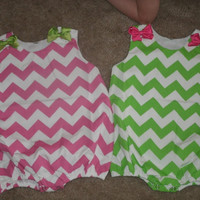 Chevron Bubble Romper With Single intial Applique Personalized