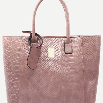 Pink Crocodile Embossed Faux Leather Shopper Bag