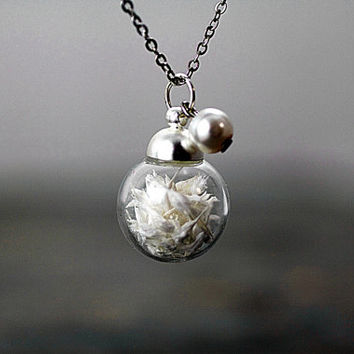 MINI real flower necklace - filled with real dried baby's breath and attached white pearl. Tiny delicate necklace for her.
