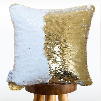 White & Gold Reversible Sequin Mermaid Pillow | COVER ONLY (Inserts Sold Separately)
