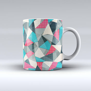 The Geometry and Polkadots ink-Fuzed Ceramic Coffee Mug