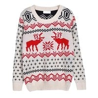 niceeshop(TM) Women Vintage Reindeer Snowman Christmas Knit Pullover Sweater,Red