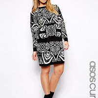 ASOS CURVE Exclusive Knitted Skirt In Mono - Black/white