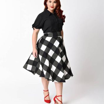 Unique Vintage Plus Size Retro Black & Ivory Checkered High Waist Vivien Swing Skirt
