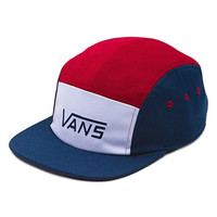 Vans Off The Wall Men's Davis 5 Panel Strapback Hat Cap - Dress Blue/Rhubarb
