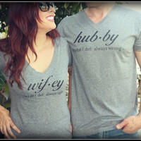 Hubby And Wifey Definition Shirt, Hubby Shirt, Wifey Shirt, husband shirt, Wedding, Bride Shirt, Bachlor Gift, Mrs. Always Right Shirt