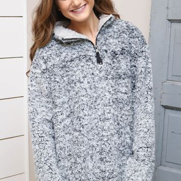 Charcoal Sherpa Quarter Zip Pullover
