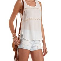 Ivory Crochet-Trim High-Low Tank Top by Charlotte Russe