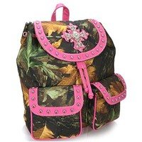 Camo Leaf Studded Cross Backpack Purse Camouflage Bag (Pink)