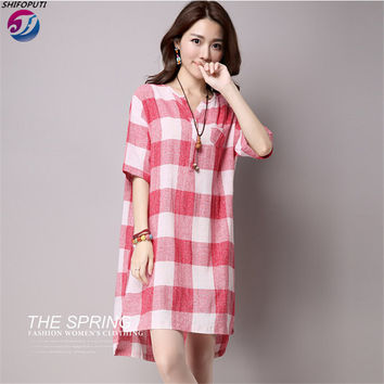 2016 Summer dress Pregnant women Plaid Printed Loose Plus size Maternity dresses Hot Pregnancy clothes 6095