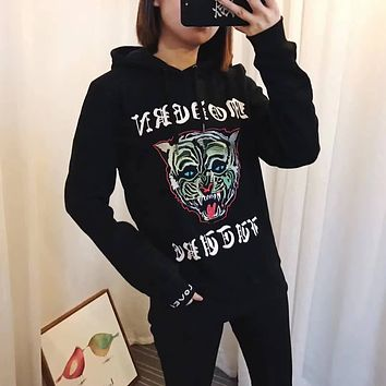 GUCCI Women's Tiger head Sequins Embroidery Top Sweater Pullover Hoodie