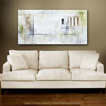 Original Abstract art painting large contemporary oil painting 24 x 48 artwork wall art white modern industrial by L.Beiboer