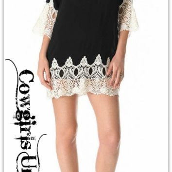 COWGIRL GYPSY DRESS White Lace on Black Loose Fit Mini Dress