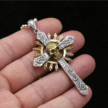 925 sterling silver necklace pendant for men or women Punk skull Cross Pendants jewelry