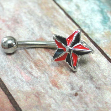 Texas Star Eyebrow Ring Rook Ear Piercing Red and Black