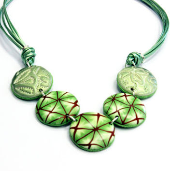 Light green polymer clay necklace, green and copper pattern, colorful necklace, elegant jewelry.
