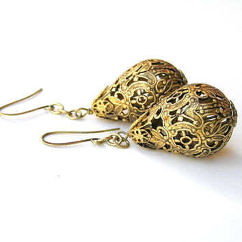 Anthropology Style Gold Filigree Earrings, Antique Gold, Vintage Style