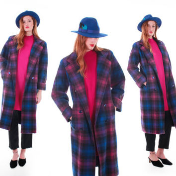 80s Vintage Plaid Wool Coat Pink Purple Blue Long Duster Retro Hipster Mod Winter Clothing Made in the USA Women Size Medium