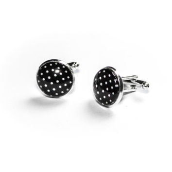 Black and white polka dot cufflinks