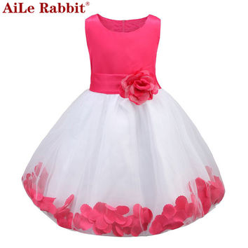 AiLe Rabbit Kids Infant Girl Flower Petals Dress Children Bridesmaid Toddler Elegant Dress Pageant Vestido Infantil Tulle  Dress