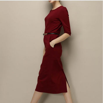 Red Sleeve Slit-Back Dress With Belt