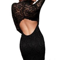 Black Long Sleeve Open Back Women Sexy Evening Party Cocktail Lace Mini Dress