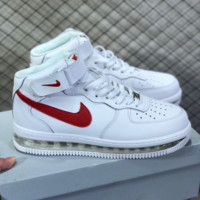 hcxx N802 Nike Air Force 1 AF1 Air Sole External cushion shock absorber High Leather Skate Shoes White Red