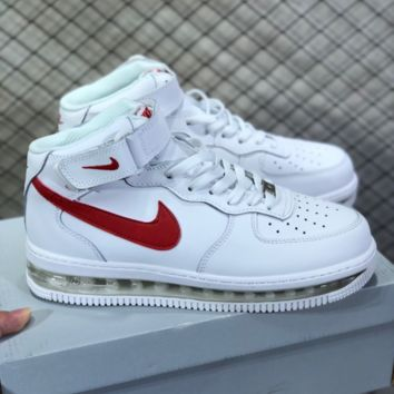 DCCK N802 Nike Air Force 1 AF1 Air Sole External cushion shock absorber High Leather Skate Shoes White Red