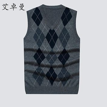 Men Knitted cashmere Vest Autumn winter Mens Pullovers Knitted Sweater sleeveless Men Business Wool Sweaters vests