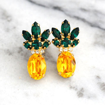 Pineapple Earrings, Pineapple Jewelry, Yellow Emerald Crystal Swarovski Earrings,Trending Jewelry, Swarovski Earrings, Pineapple Studs