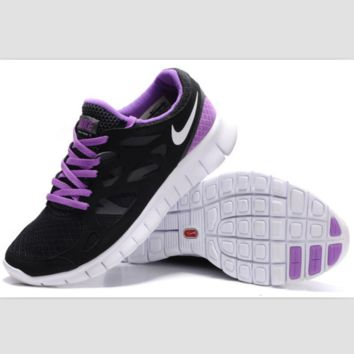 NIKE running shoes light casual shoes Black and purple