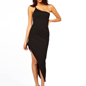 Black One Shoulder Asymmetrical Midi Dress