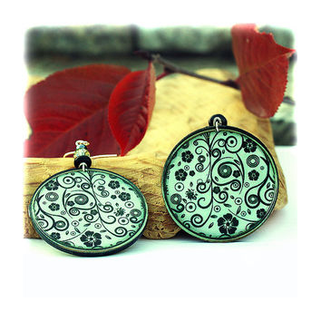 Floral ornament Earrings Dark green and black swirls by MADEbyMADA