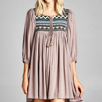 Ethnic Yoke Peasant Dress - Mocha