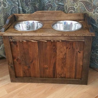 Raised rustic dog feeder with storage,  elevated dog feeder, rustic dog feeder, western dog feeder, pet feeder