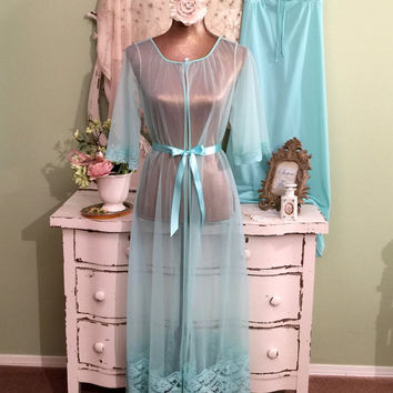 Romantic Chiffon Nightgown Set, 60s Teal Peignoir Set, Elegant Bridal Lingerie, Hollywood Glam, Sheer Lace Robe, Wedding Nightwear,  Medium