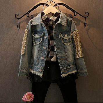 1-12 Years Girl Jackets Coats,Baby Girls Denim Clothing,Kids Outerwear,Kids Coat,Little Girl Design Kids Denim Jacket