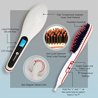 [PATENTED] Professional Ionic Best Hair Brush Straightener for Styling By Azorro, Detangling, Straightening, Frizz-Free Hair Care With Scalp Massage - LCD Display Ceramic Flat Iron Paddle Brush (WHT)