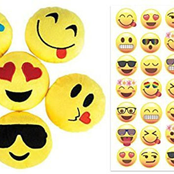 Emoji Party Favors for 12 - 12 Small Emoji Face Pillows (5 inch) and 33 Emoji Temporary Tattoos - Super Cute Pillows for Birthday Parties, Great for Prizes, Decorations