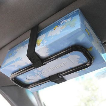 Practical Plastic Car Sun Visor Tissue Paper Box Holder Auto Seat Back Accessories Clip Bracket Black Travel Accessories 1 Pc