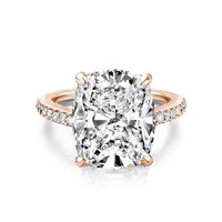 6 Ct Rose Gold Plated Rectangle Cushion Cut Engagement Ring/ Edwardian Ring / Large Cocktail Ring, Man Made Diamond, Solid Sterling Silver
