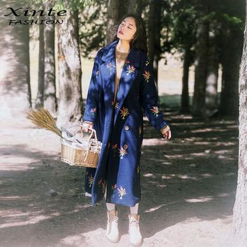 Women Wool Long Coat Flower Embroidery X-Long Jacket Loose Trench Coat Vintage Garment Double Breasted Navy Blue Winter