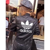 Adidas female Leather clothing Embroidery Loose Coat Black