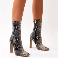 Comeback Sock Fit Ankle Boots in Snake Print