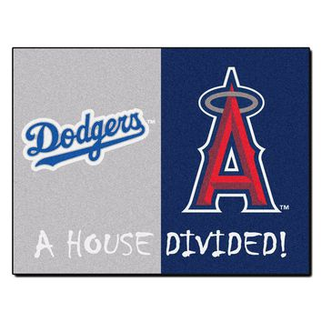 Los Angeles Dodgers - Anaheim Angels MLB House Divided Rugs 33.75x42.5