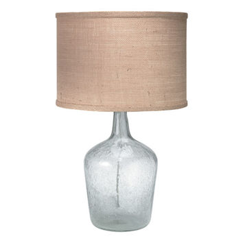 Jamie Young Company 1JAR-MDCL/2DRUM-204CL Plum Jar Clear Glass One-Light Table Lamp with Natural Burlap Shade