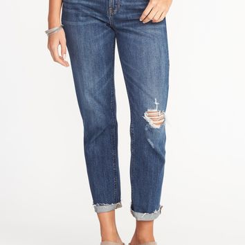Boyfriend Distressed Straight Jeans for Women |old-navy