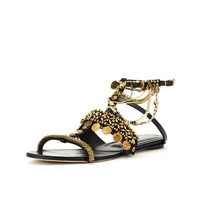 Embroidered Suede Sandals - Shoes - Shoes & Accessories