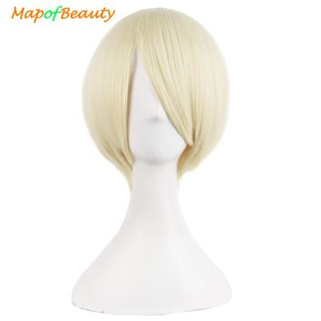 "MapofBeauty 12"" Short Straight Green Black Pink White Blonde Wig 29Color Cosplay Wigs Heat Resistant Natural Fake Synthetic Hair"