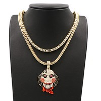 Hip Hop Iced Out Tekashi69  Pendant W/ Franco & Tennis Choker Chain Set